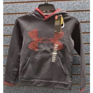 Under Armour Shirts & Tops - Under Armour Big Logo Black/Red Hoodie Boy's Sz S